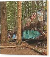 Train Wreck Canvas Among The Trees Wood Print