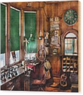 Train - Yard - The Stationmasters Office  Wood Print