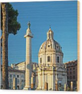 Trajans Column - Rome Wood Print