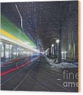 Tram At Night In Zurich Bahnhofstrasse Wood Print