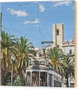 Tram In Lisbon Wood Print