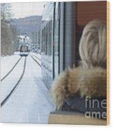 Tram In Winter Wood Print