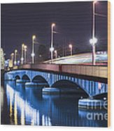 Tram Over A Bridge Wood Print