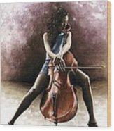 Tranquil Cellist Wood Print