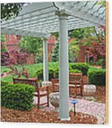 Tranquil Courtyard Wood Print