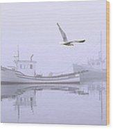 Tranquil Morning Fog Wood Print