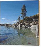 Tranquil Tahoe Beach Wood Print