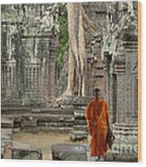 Tranquility In Angkor Wat Cambodia Wood Print by Bob Christopher