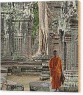Tranquility In Angkor Wat Cambodia Wood Print