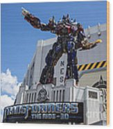 Transformers The Ride 3d Universal Studios Wood Print
