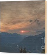 Translucent Sunset In Widescape Wood Print