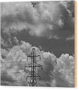 Transmission Tower In Storm Wood Print