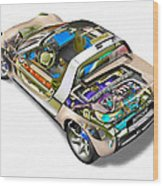Transparent Car Concept Made In 3d Graphics 2 Wood Print