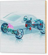 Transparent Car Concept Made In 3d Graphics 7 Wood Print