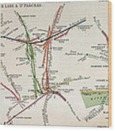 Transport Map Of London Wood Print