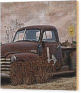 Transportation - Rusted Chevrolet 3100 Pickup Wood Print