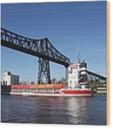 Transporter Bridge Over Canal Rendsburg Wood Print