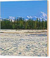 Trapper Creek And Mount Mckinley, Alaska Wood Print