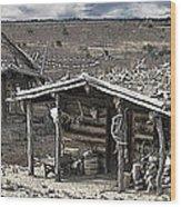 Trapper Dan's Log Cabins Wood Print