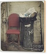 Trash And Chair Asking Please Take Me Home Wood Print by Victoria Herrera