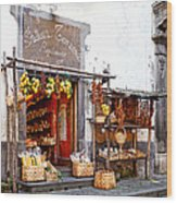 Tratorria In Italy Wood Print by Susan Schmitz