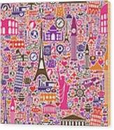 Travel Seamless Pattern Wood Print