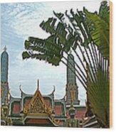 Traveler's Palm At Grand Palace Of Thailand In Bangkok Wood Print
