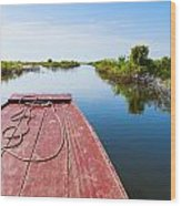Traveling Through Tonle Sap Lake Wood Print
