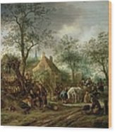 Travellers At An Inn Wood Print