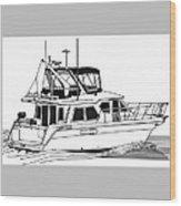 Trawler Yacht Wood Print by Jack Pumphrey