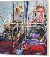 Trawlers In Early Light Wood Print
