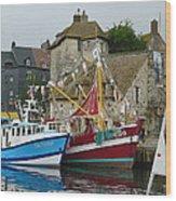 Trawlers In Honfleur Wood Print