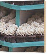 Trays Of Cupcakes Closeup Wood Print