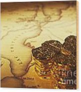 Treasure Map And Doubloons Wood Print
