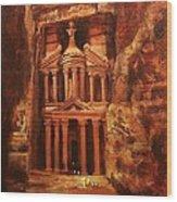 Treasury Of Petra Wood Print by Tom Shropshire