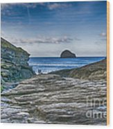 Trebarwith Strand Cornwall Wood Print