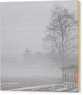 Tree And A House On The Fog Wood Print