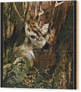 Tree And Buck Wood Print