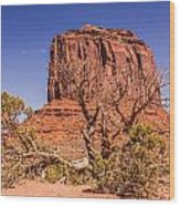 Tree And Elephant Butte Wood Print