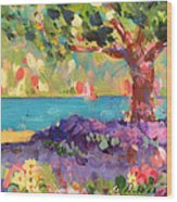 Tree And Flowers By The Water Wood Print