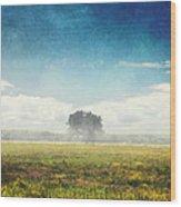 Tree And Meadow Wood Print