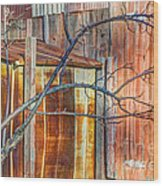 Tree And Rust Wood Print by Jim Wright