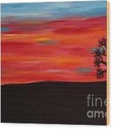 Tree At Sunset II Wood Print