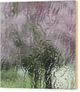 Tree Blossoms In The Rain Wood Print
