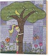 Tree Hugging Wood Print by Julie Bull