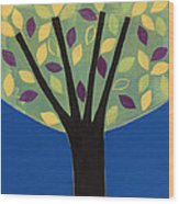 Tree In Blue Wood Print