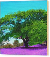Tree In Lavender Wood Print