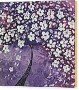 Tree In Purple Wood Print by Mariana Stauffer