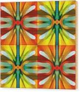 Tree Light Square Pattern Wood Print