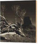 Tree Monument Valley Wood Print